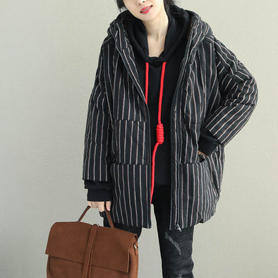 Women Loose Striped Hoodie Short Winter Coat Q2067