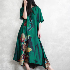 Simple Green Print Loose Maxi Dresses Women Summer Clothes Q3065