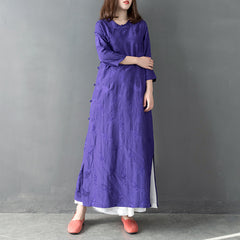 Purple Elegant Chinese Style Maxi Dresses Women Casual Linen Gown Q30017