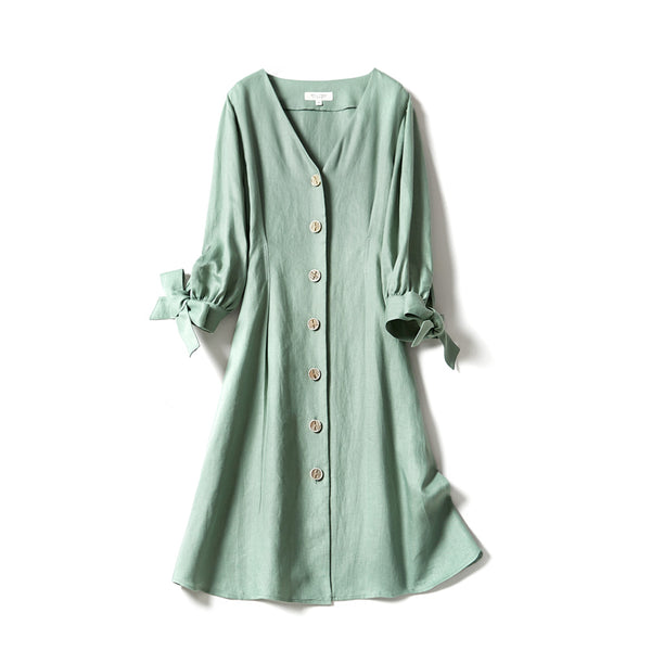 Linen Stylish Fitting Summer Dresses For Women  WLQ02081