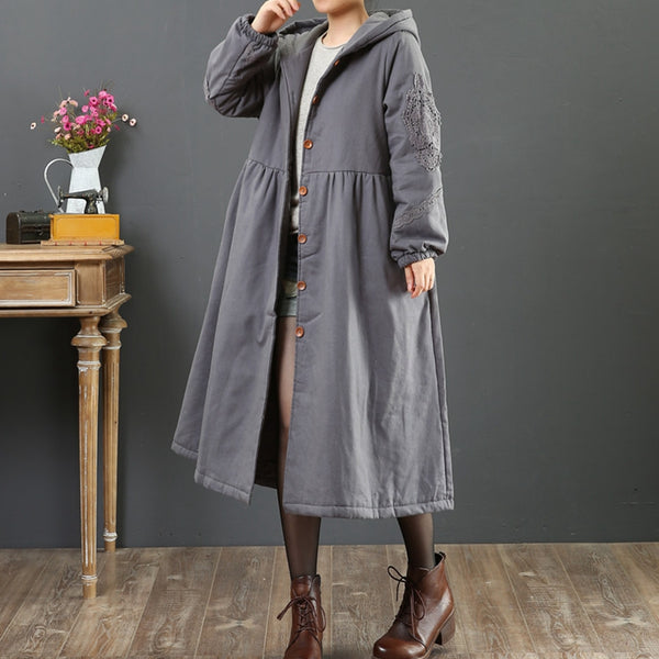 Loose Linen Solid Color Hooded Coat For Women