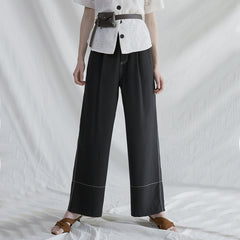 Black And Coffee High Waist Wide-leg Pants Women Summer Loose Trousers K29041