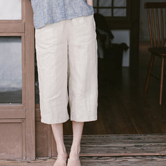 Women Beige Linen Summer Casual Pants Loose Thin Trousers K9523