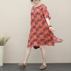Red Print Linen Casual Summer Dresses Women Loose Cool Clothes Q2716