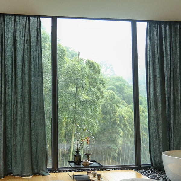 Luxurious Blackish Green100% Pure Linen Curtains Sheer Curtains
