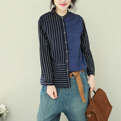 Blue Vintage Quilted Cotton Linen Shirt Women Casual Blouse Q2211
