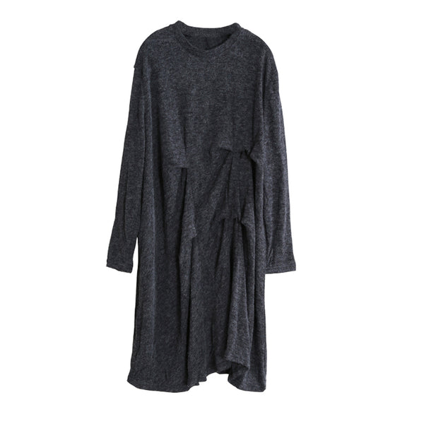 Women Retro Winter Irregularity Knit Dress