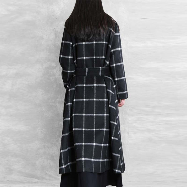 Women Double Breasted Plaid Belted Waist Coat