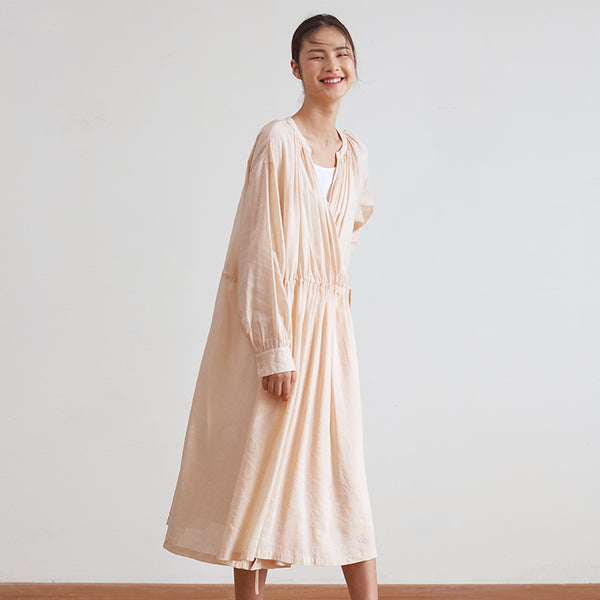 Pink Loose Drawing Maxi Dresses Women Casual Spring Clothes Q18030