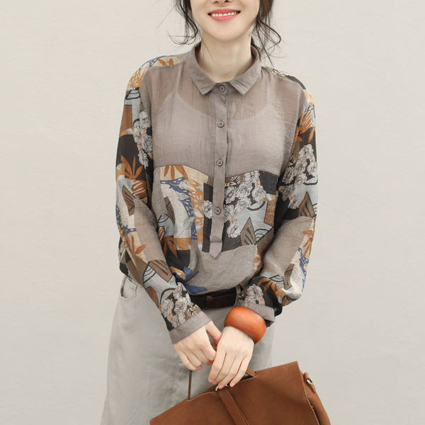 Vintage Spliced Casual Blouse For Women Tops