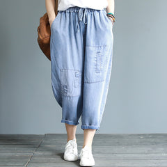 Loose Blue Cowboy Harem Pants Women Casual Denim Trousers K20050