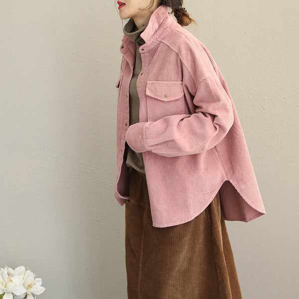 Vintage Pink and Gray Loose Corduroy Short Coat For Women Q1918