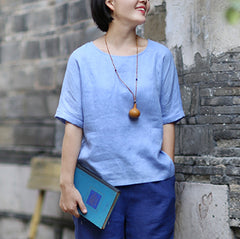Simple Pure Color Casual Linen Shirt Women Summer Top