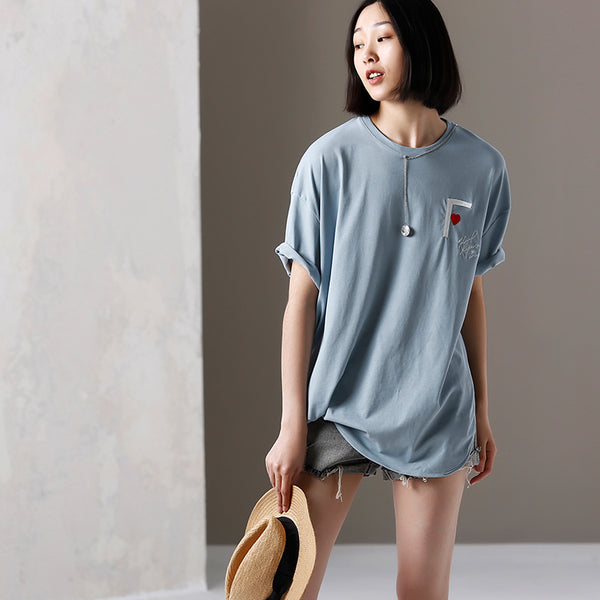 Summer Blue Embroidery Cotton Shirt Women Loose Tops T6122