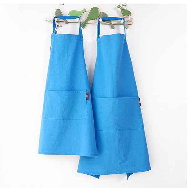 Pure Color Cotton Linen Parent Child Aprons Chef Apron Workwear