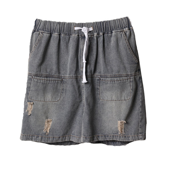 Vintage Blue Cowboy Shorts Women Summer Cool Denim Short Pants N3202