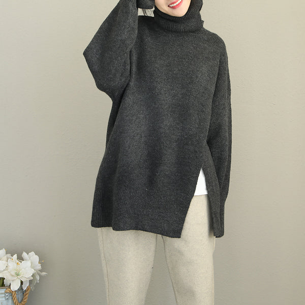 Women High Neck Thick Sweater Casual Winter Tops Q2088