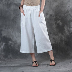 Women's Loose Red Linen Wide-leg Pants Casual Summer Trousers