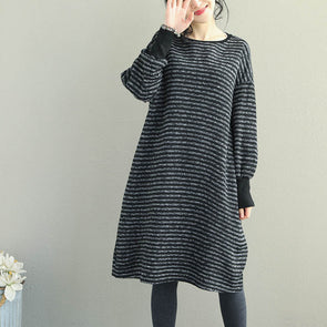 Black Loose Striped Base Dresses For Women Q2065
