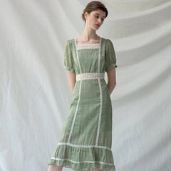 Vintage Summer Linen High Waist Green Dresses For Women Q24051
