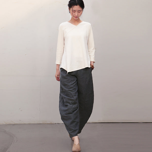 Women Black Linen Casual Pants Spring Loose Trousers K28019