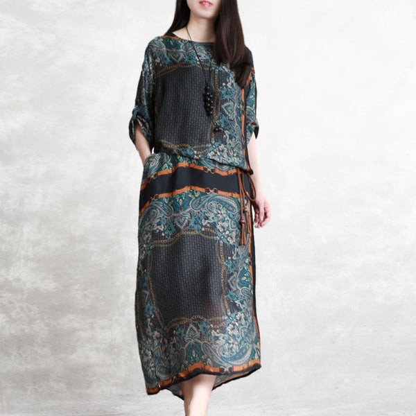Loose Summer Long Silk Dresses Women Casual Thin Gown Q23052