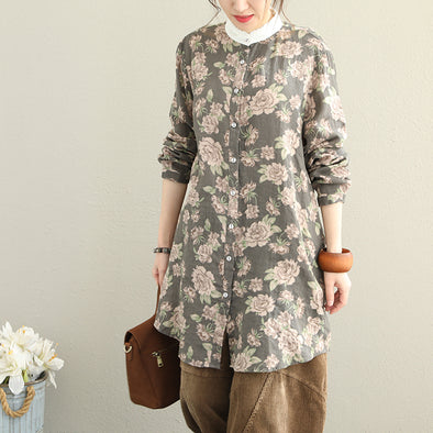 Women Casual Cotton Linen Shirt Loose Print Blouse Q1859
