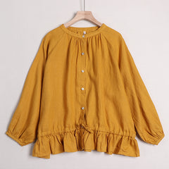Women Fashion Puff Sleeve Pure Color Doll Shirt