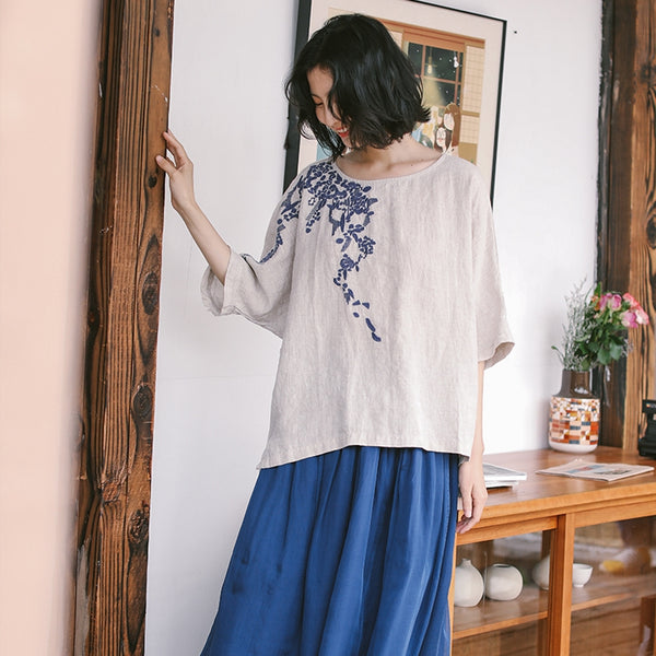 Loose Linen Embroidery Summer Blouse Women Casual Tops S9419