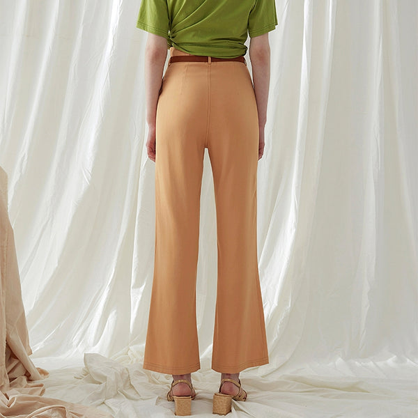 Vintage High Waist Pure Color Women Casual Pants Summer Bell-bottoms K3067
