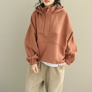 Loose Brushed Thick Hoodie Loose Fleece Women Cotton Tops Q2026
