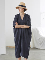 Navy Blue 100% Linen V-neck Maxi Dresses Women Casual Clothes P192096