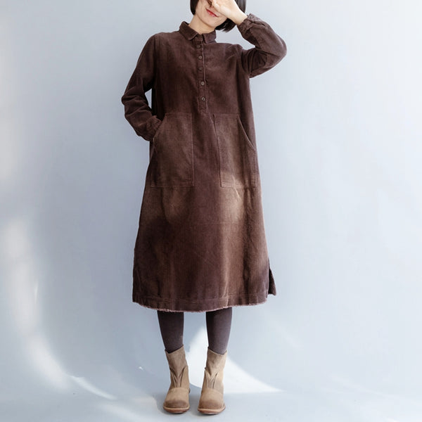 Women's Corduroy Loose Vintage Big Pocket Dress