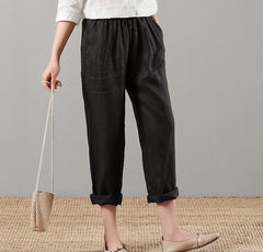 Women's Pure Color Linen Casual Trousers Turnip Pants