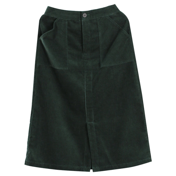 Women Corduroy Slant Pocket Skirt