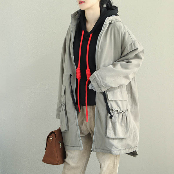 Loose Black And Gray Brushed Coat Women Winter Tops Q2063