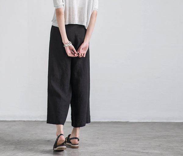 Pure Color Linen Trousers White Women Slacks Pants