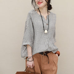 Casual Striped Loose Summer Blouse Women Cool Tops Q2728