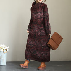 Elegant Loose High Neck Sweater Dresses For Women QT2001