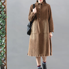 Women's Loose Vintage Corduroy Shirt Dress