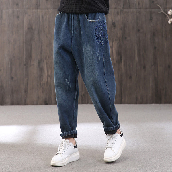 Women Loose Embroidered Elastic Waist Jeans