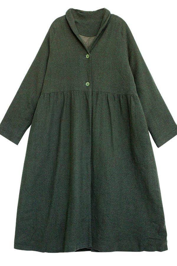 Women Winter Cotton Linen Hem Coat
