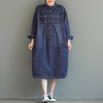 Loose Blue Maxi Denim Dresses Women Casual Spring Clothes Q25029