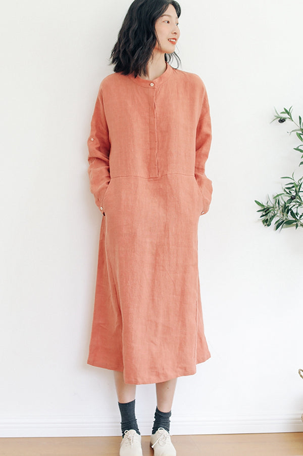 100%Linen Simple Round Neck Dress For Women
