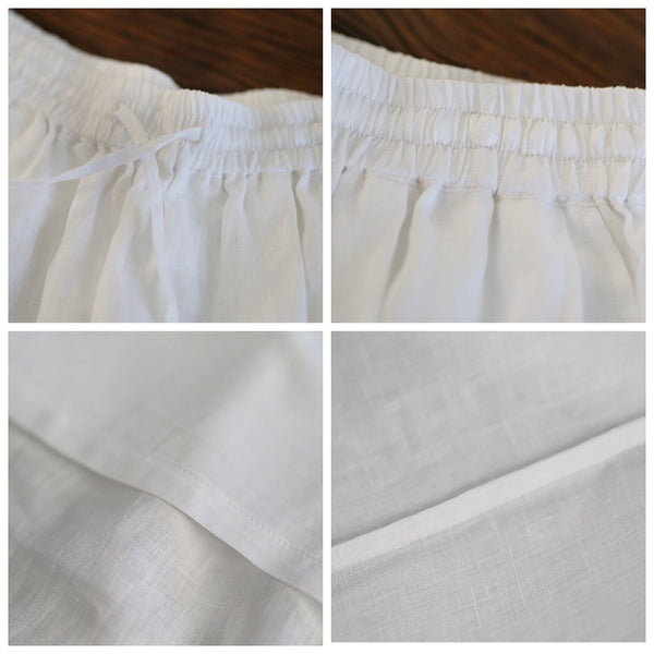 Women's White Loose Linen Bloomers Harem Pants