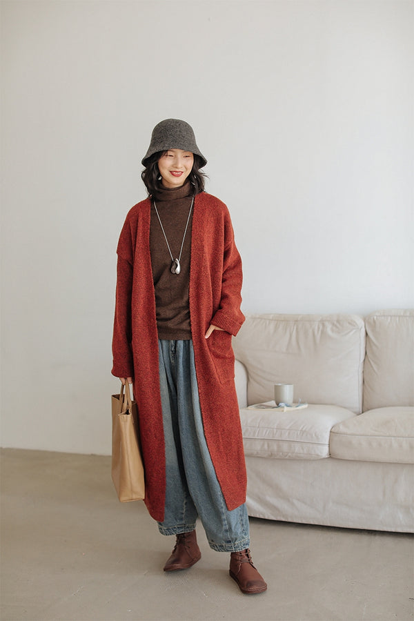 Long Wool V-Neck Cardigan For Women Z91015