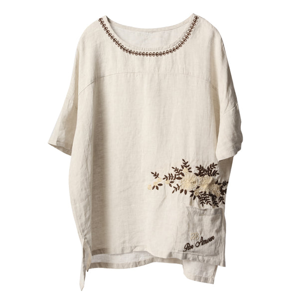 Beige Casual Embroidery Cotton Blouse Women Summer Loose Tops C2915