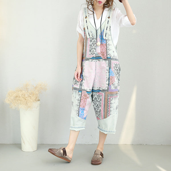 Vintage Cute Loose Women Overall Casual Suspender For Summer 0538