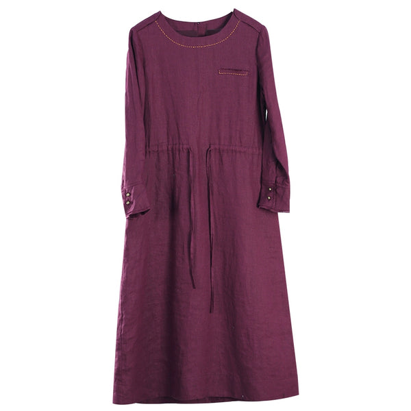 Women Linen Loose Drawstring Waist Dress