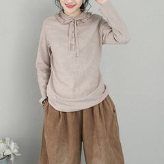 Cute Pure Color Casual Knitwear Women Fashion Tops Q2135